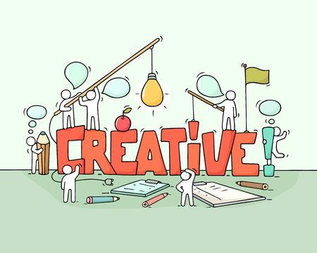 Caricature travaillant de petites personnes avec le mot Creative. Doodle jolie scène miniature de travailleurs sur le brainstorming. Illustration vectorielle dessinés à la main de dessin animé pour la conception de l'entreprise. Banque d'images - 74151184