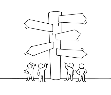 Sketch of working little people with road sign. Doodle cute miniature of signpost. Hand drawn cartoon vector illustration for business design and infographic. Illustration