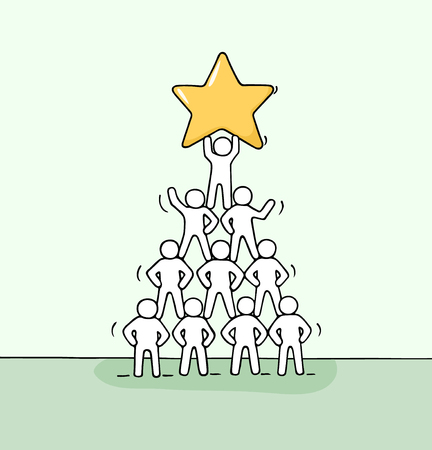 Sketch of pyramid with working little people. Doodle cute miniature teamwork and partnership. Hand drawn cartoon vector illustration for business design and infographic.