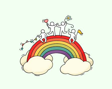 Cartoon working little people with rainbow. Doodle cute miniature scene of workers sit in the clouds. Hand drawn cartoon vector illustration for holiday design.