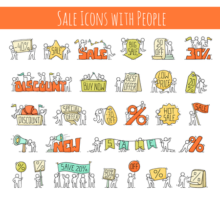 Sale set with working little people. Doodle cute miniature scenes of workers with discount banners. Hand drawn cartoon vector illustration for business and marketing design.