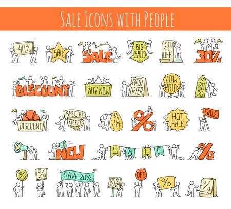 Vendita con piccole persone che lavorano. Doodle scene in miniatura di lavoratori con striscioni di sconto. Illustrazione di vettore del fumetto disegnato a mano per business e marketing design. Archivio Fotografico - 77164175