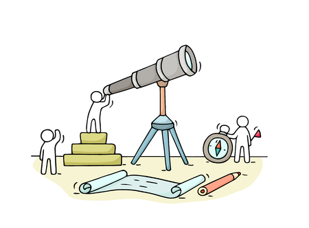 Sketch of working little people with spyglass, teamwork. Doodle cute miniature scene of workers discovery something . Hand drawn cartoon vector illustration for business design and infographic. Иллюстрация
