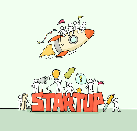 Cartoon working little people with word StartUp. Doodle cute miniature scene of workers with flying rocket. Hand drawn cartoon vector illustration for business design. Illustration