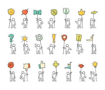 Cartoon icons set of sketch little people with life symbols. Doodle cute miniature scenes of workers with smile, arrow, flags. Hand drawn vector illustration for web design and infographic.