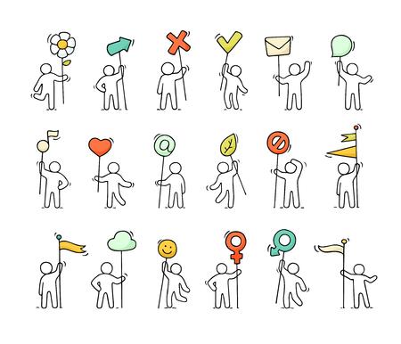 Los iconos de dibujos animados conjunto de bosquejo pequeñas personas con símbolos de la vida. Garabatee escenas miniatura lindas de trabajadores con marca, flecha, banderas. Mano dibuja la ilustración vectorial para diseño web e infografía. Foto de archivo - 77164269