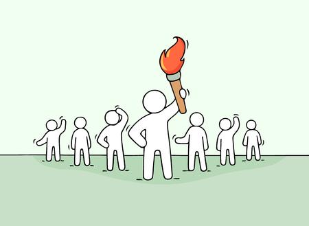 Schets van werkende kleine mensen en leider met fakkel. Doodle schattig concept over teamwerk over macht. Hand getekend cartoon vectorillustratie voor zakelijke ontwerp.