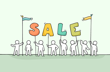 Sketch of working little people with word sale. Doodle cute miniature scene of workers preparing for the shopping. Hand drawn cartoon vector illustration.