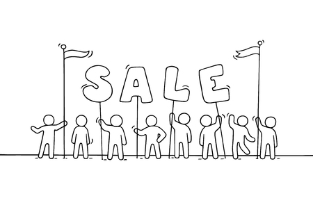crowd happy people: Sketch of working little people with word sale. Doodle cute miniature scene of workers preparing for the shopping. Hand drawn cartoon vector illustration.