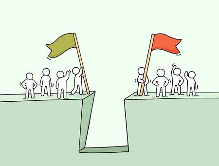 Cartoon che lavora poca gente nei pressi dell'abisso. Doodle carina scena miniatura di due squadre con bandiere. Illustrazione vettoriale disegnata a mano per il business design e infographic. Archivio Fotografico - 77164306