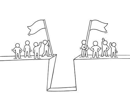 Beeldverhaal die kleine mensen dichtbij kloof werken. Doodle schattige miniatuurscène van twee teams met vlaggen. Hand getekend vectorillustratie voor zakelijke ontwerp en infographic. Stock Illustratie