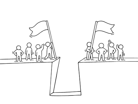 Cartoon working little people near abyss. Doodle cute miniature scene of two teams with flags. Hand drawn vector illustration for business design and infographic. Иллюстрация