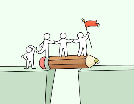 Historieta que trabaja poca gente cerca del abismo. Doodle linda escena en miniatura del equipo en el puente como lápiz. Ilustración vectorial dibujado a mano para el diseño de negocios e infográfico. Foto de archivo - 77164305