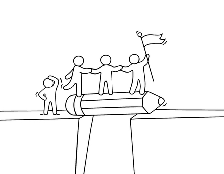 business metaphore: Cartoon working little people near abyss. Doodle cute miniature scene of team on the bridge like pencil. Hand drawn vector illustration for business design and infographic.