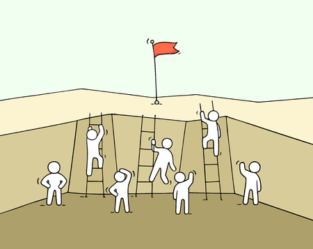 Cartoon working little people climb out of the abyss. Doodle cute miniature scene of workers with flags on the top. Hand drawn vector illustration for business design and infographic. Illustration
