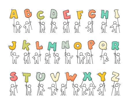 漫画のアイコン セットは、手紙を持つほとんどの人々 をスケッチします。落書き alfabet、かわいい労働者。手描きデザイン教育のためのベクトル図  イラスト・ベクター素材