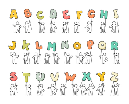 Cartoon icons set of sketch little people with letters. Doodle cute workers with alfabet. Hand drawn vector illustration for education design. 向量圖像