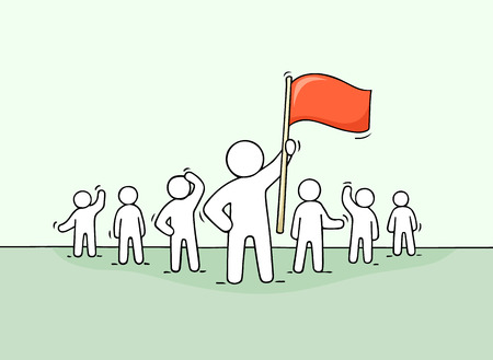 Sketch of working little people and leader with flag. Doodle cute concept about teamwork about leadership. Hand drawn cartoon vector illustration for business design. Illustration