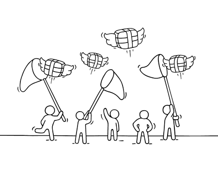 Sketch of working little people with flying gifts. Doodle cute miniature scene of workers trying to catch presents. Hand drawn cartoon vector illustration for holiday design.