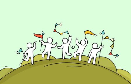 花輪およびフラグをして幸せな小さな人を漫画します。労働者の祭典のための準備の落書きかわいいミニチュア シーン。手描き漫画のベクトル図で
