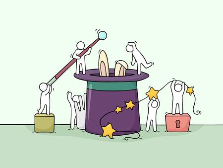 Cartoon travaille de petites personnes avec des symboles magiques. Doodle scène miniature mignonne de travailleurs essayant de faire un tour. Illustration dessinée dessinée dessinée dessinée de vecteur pour la conception d'illusion. Banque d'images - 77164324