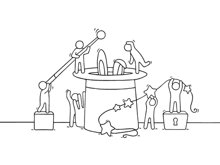 Cartoon working little people with magic symbols. Doodle cute miniature scene of workers trying to make trick. Hand drawn cartoon vector illustration for illusion design.