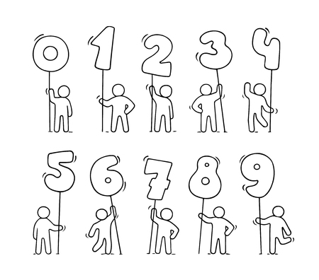 Cartoon icons set of sketch little people with numbers. Doodle cute workers with maths. Hand drawn vector illustration for education design.