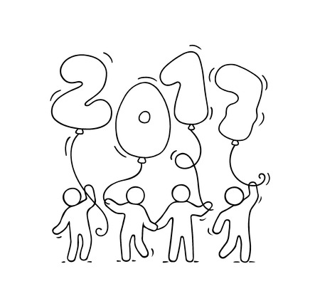 2017 Happy New Year background. Cartoon doodle illustration with liitle people holding balloons. Hand drawn vector illustration for celebration. Illustration