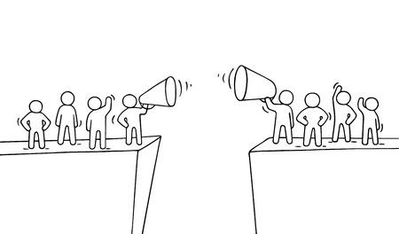 Beeldverhaal die kleine mensen dichtbij kloof werken. Doodle schattige miniatuurscène van twee teams met megafoons. Hand getekend vectorillustratie voor zakelijke ontwerp en infographic.