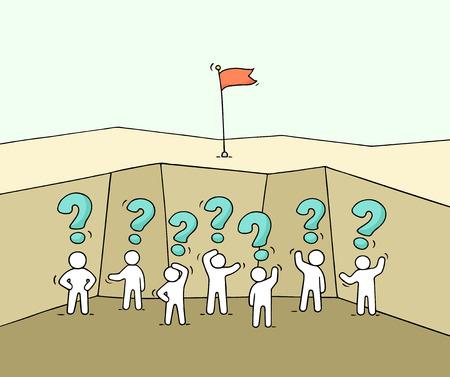 Cartone animato che lavora la piccola gente nell'abisso. Doodle carino scena in miniatura di lavoratori con segni di domanda. Illustrazione vettoriale disegnato a mano per la progettazione di business e infografica. Archivio Fotografico - 85769321