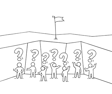 Cartoon working little people in the abyss. Doodle cute miniature scene of workers with question signs. Hand drawn vector illustration for business design and infographic.