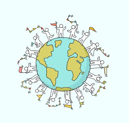 Cartone animato felice piccola gente con ghirlande e bandiere in tutto il mondo. Doodle carino scena in miniatura di lavoratori su unità e pianeta. Illustrazione di vettore del fumetto disegnato a mano.