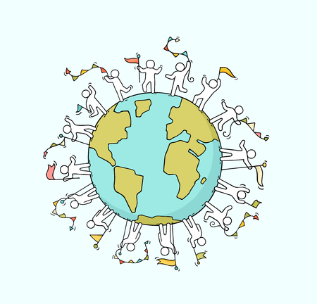 Cartoon happy little people with garlands and flags around the world. Doodle cute miniature scene of workers about unity and planet. Hand drawn cartoon vector illustration.
