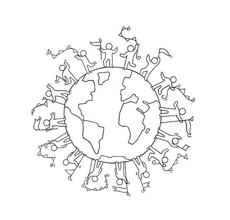communication cartoon: Cartoon happy little people with garlands and flags around the world. Doodle cute miniature scene of workers about unity and planet. Hand drawn cartoon vector illustration.