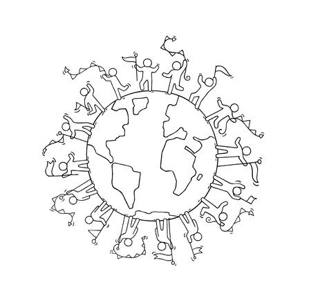 garlands와 플래그 주위 세계 행복 만화 작은 사람들. 화합과 행성에 대한 노동자의 귀여운 미니어처 장면을 낙서. 손으로 그린 만화 벡터 일러스트 레이