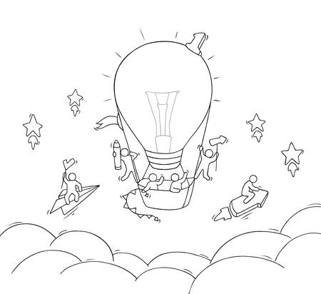 Cartoon kleine mensen vliegen in de lucht. Doodle schattig miniatuur scène van werknemers met lucht ballon vorm lamp idee. Hand getrokken vectorillustratie voor bedrijfsontwerp.