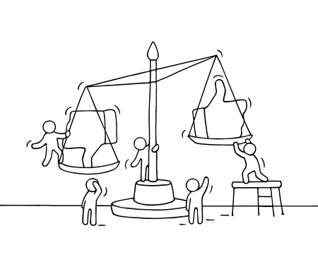 Sketch of working little people with scale. Doodle cute miniature scene of workers choosing between like and dislike. Hand drawn cartoon vector illustration for social media design. Illustration