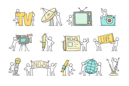 Journalist icons set of working little people with microphone, camera. Doodle cute miniature scenes of workers with tv symbols. Hand drawn cartoon vector illustration for media design. Ilustrace
