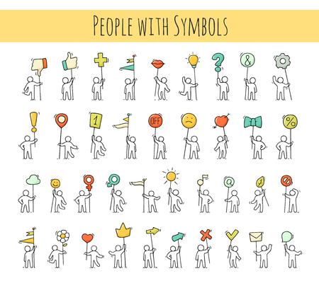 Le icone del fumetto hanno messo dello schizzo poca gente con i simboli di vita. Doodle scene in miniatura simpatiche di lavoratori con marchi, frecce, bandiere. Illustrazione vettoriale disegnato a mano per il web design e infografica.