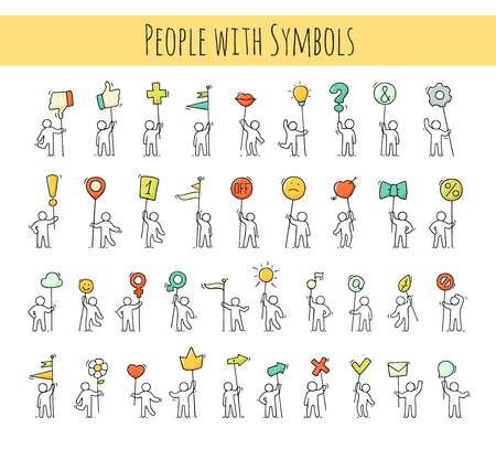 Les icônes de dessin animé définissent des petits personnages avec des symboles de vie. Doodle mignonnes scènes miniatures de travailleurs avec marque, flèche, drapeaux. Illustration dessinée à la main pour la conception et l'infographie. Banque d'images - 85752224