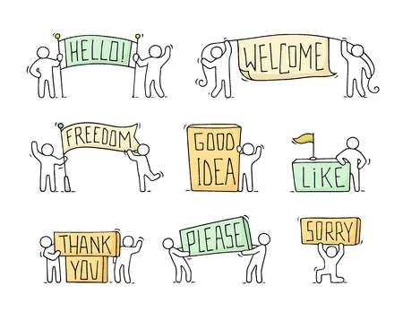 Cartoon icons set with little people. Doodle cute miniature scenes of workers with phrases. Hand drawn cartoon vector illustration for social design.