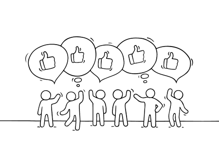 communication cartoon: Crowd of working little people with speech bubbles and likes. Doodle cute miniature scene with positive messages. Hand drawn cartoon vector illustration for internet design and infographic.