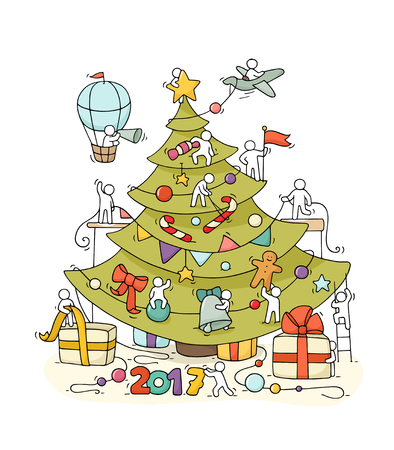New Year Eve greeting placard. Cartoon doodle illustration with liitle people prepare to celebration. Hand drawn vector background with christmas tree, air balloon, tree toys, gifts, decorations. Illustration