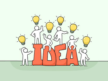 Cartoon working little people with word Idea and lamp ideas. Doodle cute miniature scene of workers about creativity. Hand drawn vector illustration for business design.  イラスト・ベクター素材
