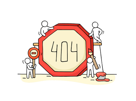Sketch of working little people with error sign 404.