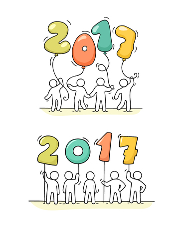 2017 Happy New Year background. Cartoon doodle illustration with little people holding numbers. Hand drawn vector illustration for celebration.