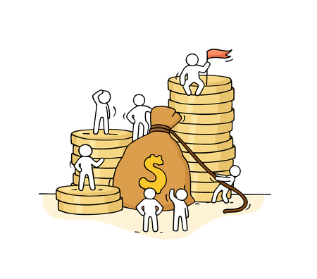 Sketch of money bag with working little people. Doodle cute miniature of stack of coins and big profit. Hand drawn cartoon vector illustration for business and finance design. Standard-Bild - 96182863