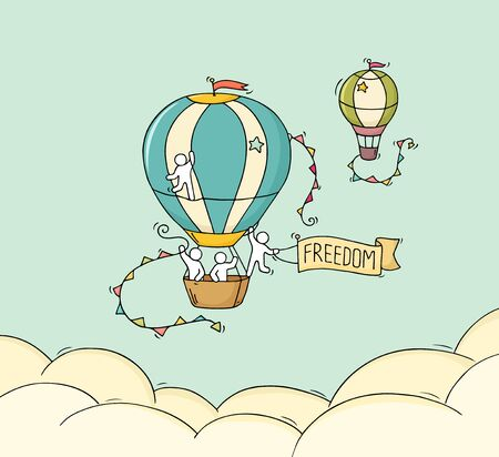 Cartoon little people fly in air. Illustration