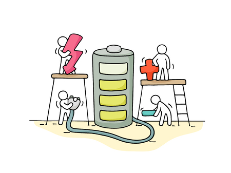 Sketch of working little people with battery. Doodle cute miniature scene of workers with charger. Hand drawn cartoon vector illustration.