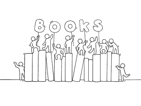 Sketch of working little people with books. Doodle cute miniature scene of workers about education. Hand drawn cartoon vector illustration for business and school design.